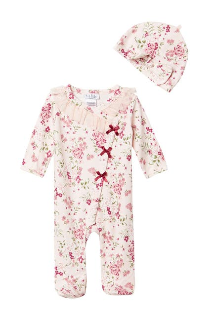 Image of Nicole Miller Floral Print Footie & Hat Set