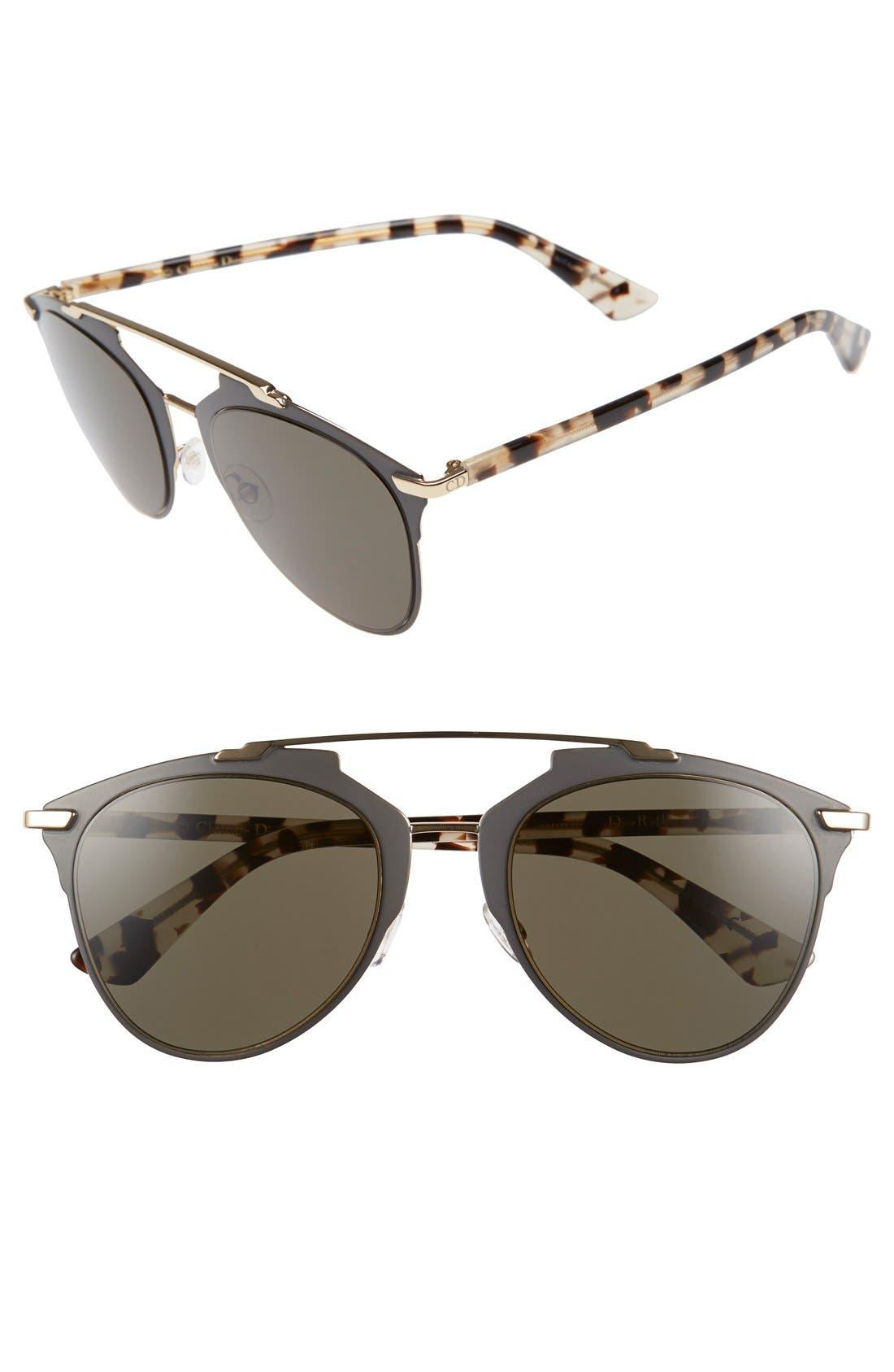,                             Reflected 52mm Brow Bar Sunglasses,                             Main thumbnail 16, color,                             200
