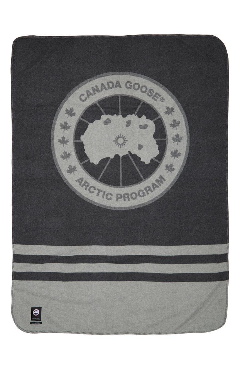 CANADA GOOSE Queen Logo Wool Blanket, Main, color, IRON GREY