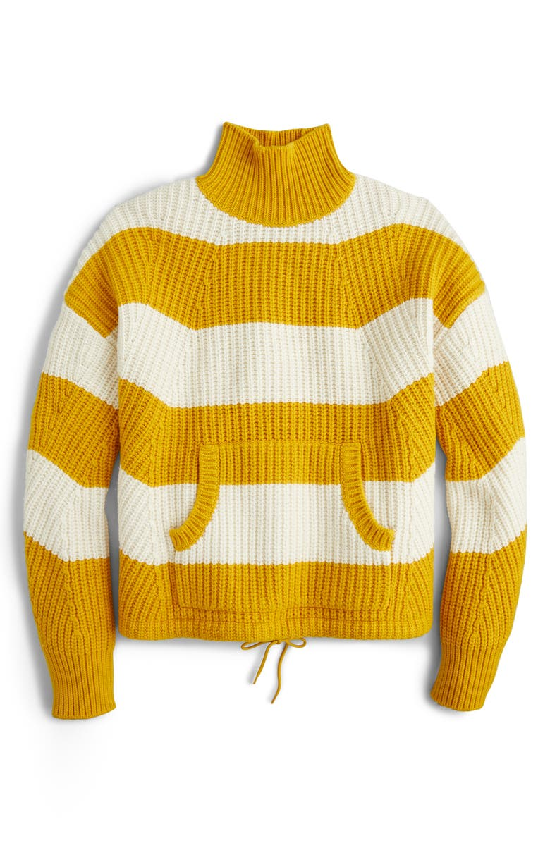 J.CREW Kangaroo Pocket Stripe Turtleneck Sweater, Main, color, GOLDEN STRAW WARM IVORY