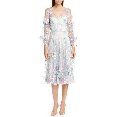 Marchesa Notte Embroidered Long Sleeve Tulle Midi Dress, Ivory