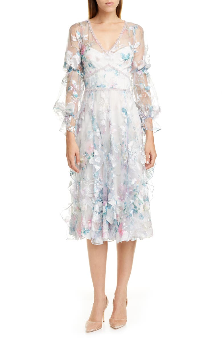 MARCHESA NOTTE Embroidered Long Sleeve Tulle Midi Dress, Main, color, IVORY