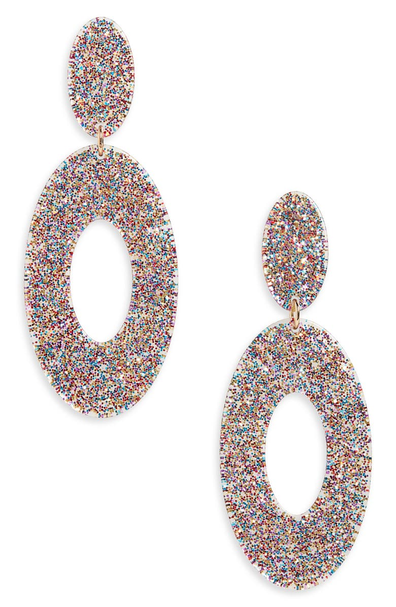 BP. Sparkle Resin Drop Earrings, Main, color, PURPLE MULTI