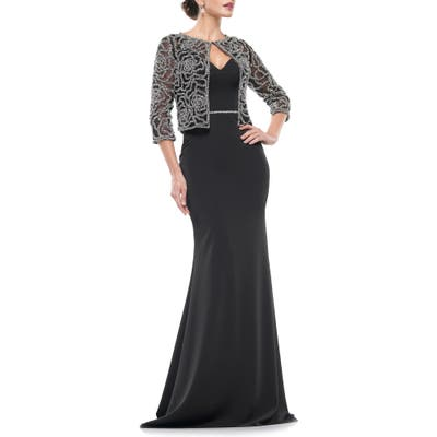 Marsoni Stretch Faille Trumpet Gown With Jacket, Black