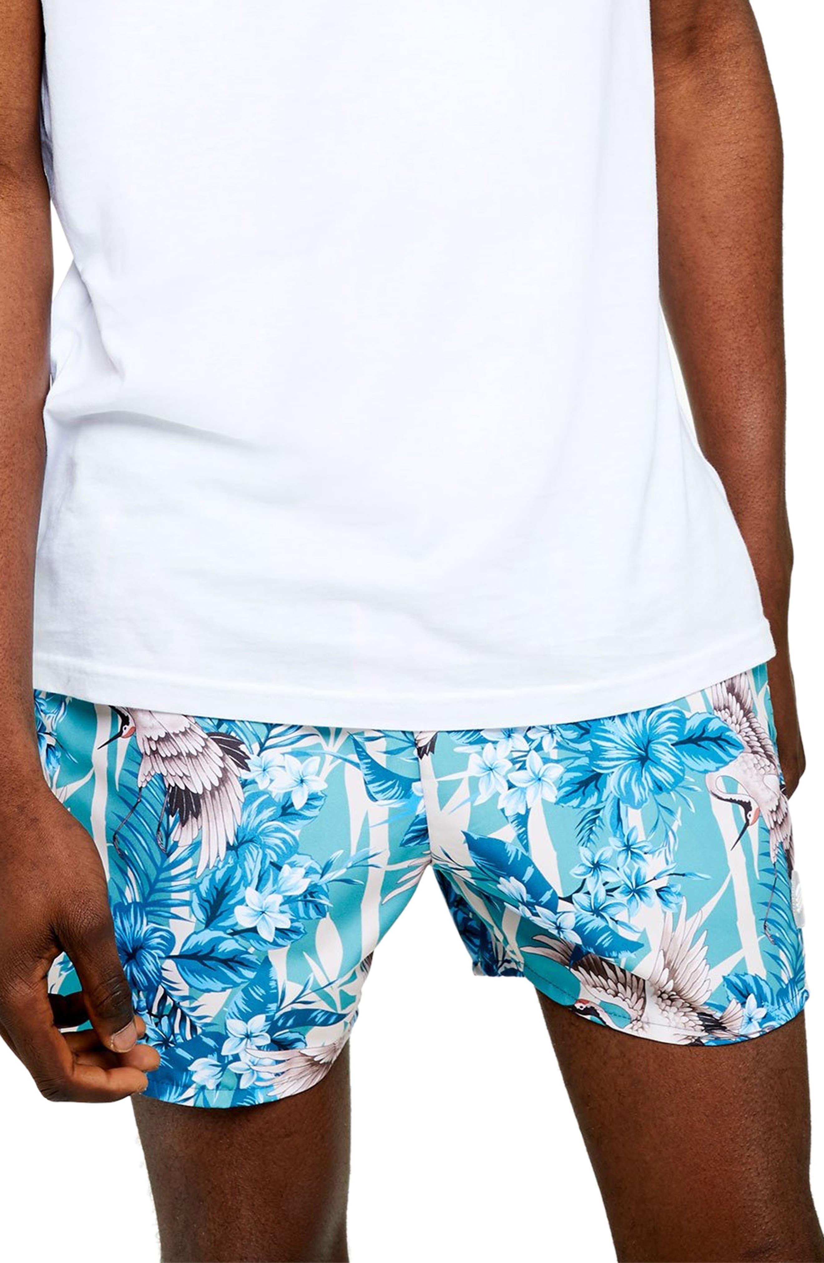 Topman Crane Print Classic Swim Shorts, Blue