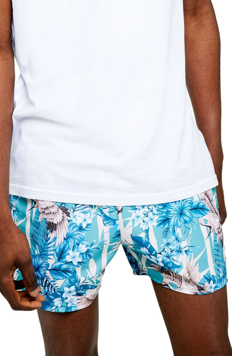 TOPMAN Crane Print Classic Swim Shorts, Main, color, BLUE MULTI