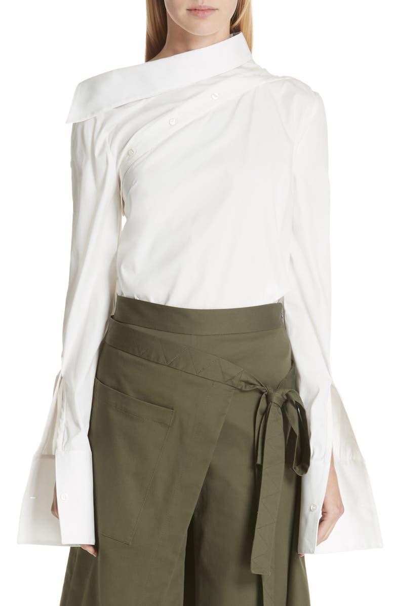 MONSE Asymmetrical Shoulder Cotton Blend Poplin Top, Main, color, 100
