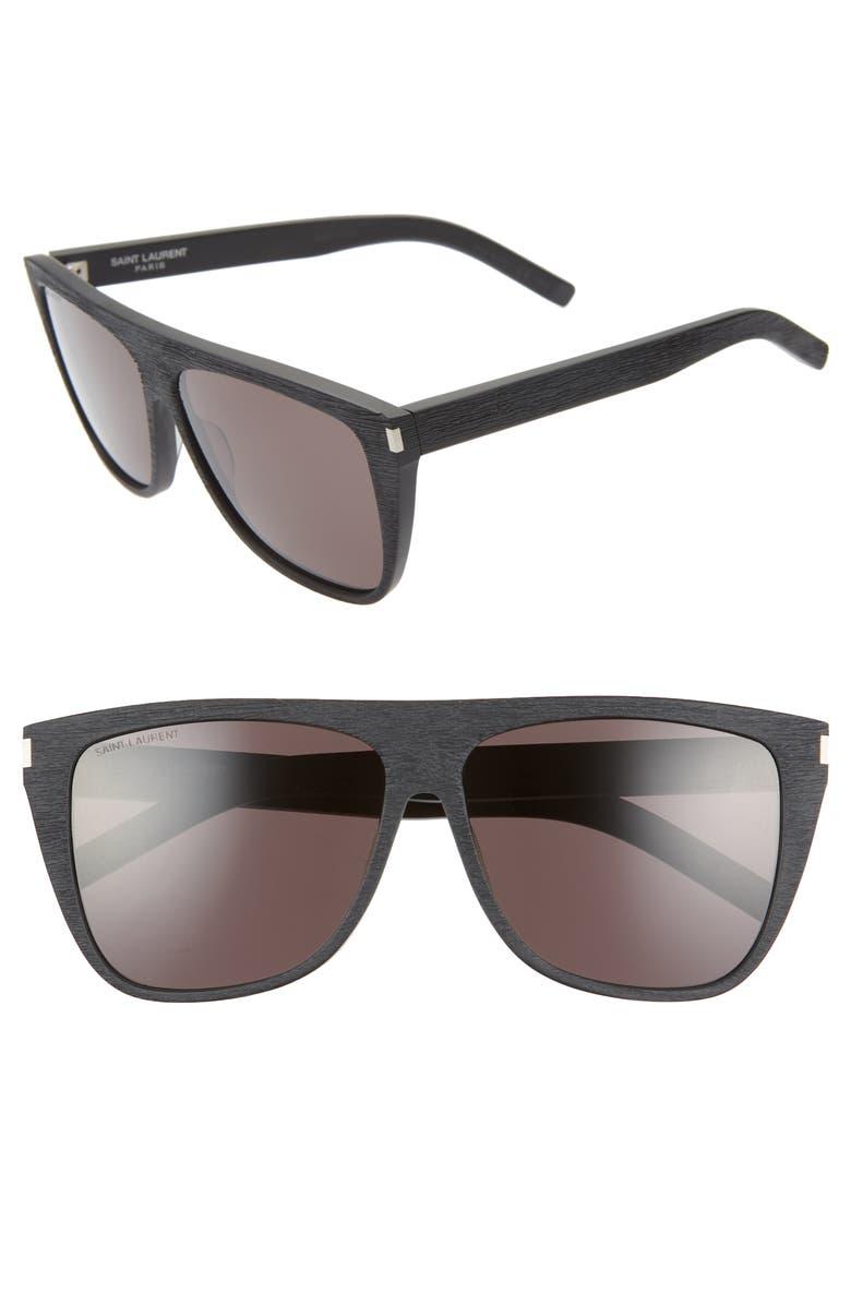 SAINT LAURENT 59mm Sunglasses, Main, color, WOOD EFFECT BLACK/ GREY SOLID