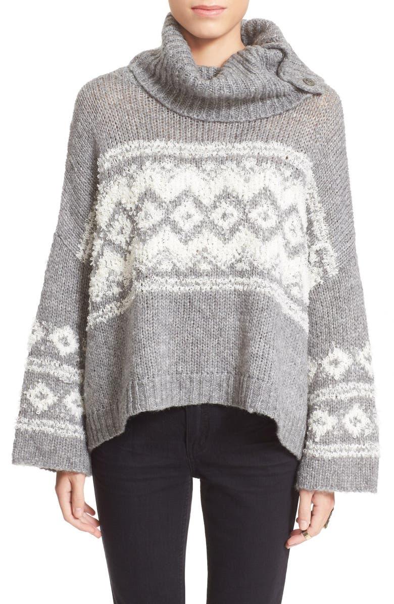 FREE PEOPLE Fair Isle Split Neck Sweater, Main, color, 020