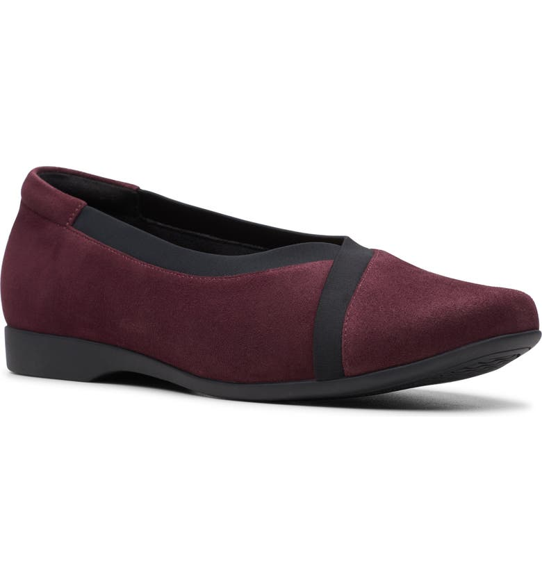 CLARKS<SUP>®</SUP> Un Darcey Ballet Flat, Main, color, EGGPLANT LEATHER