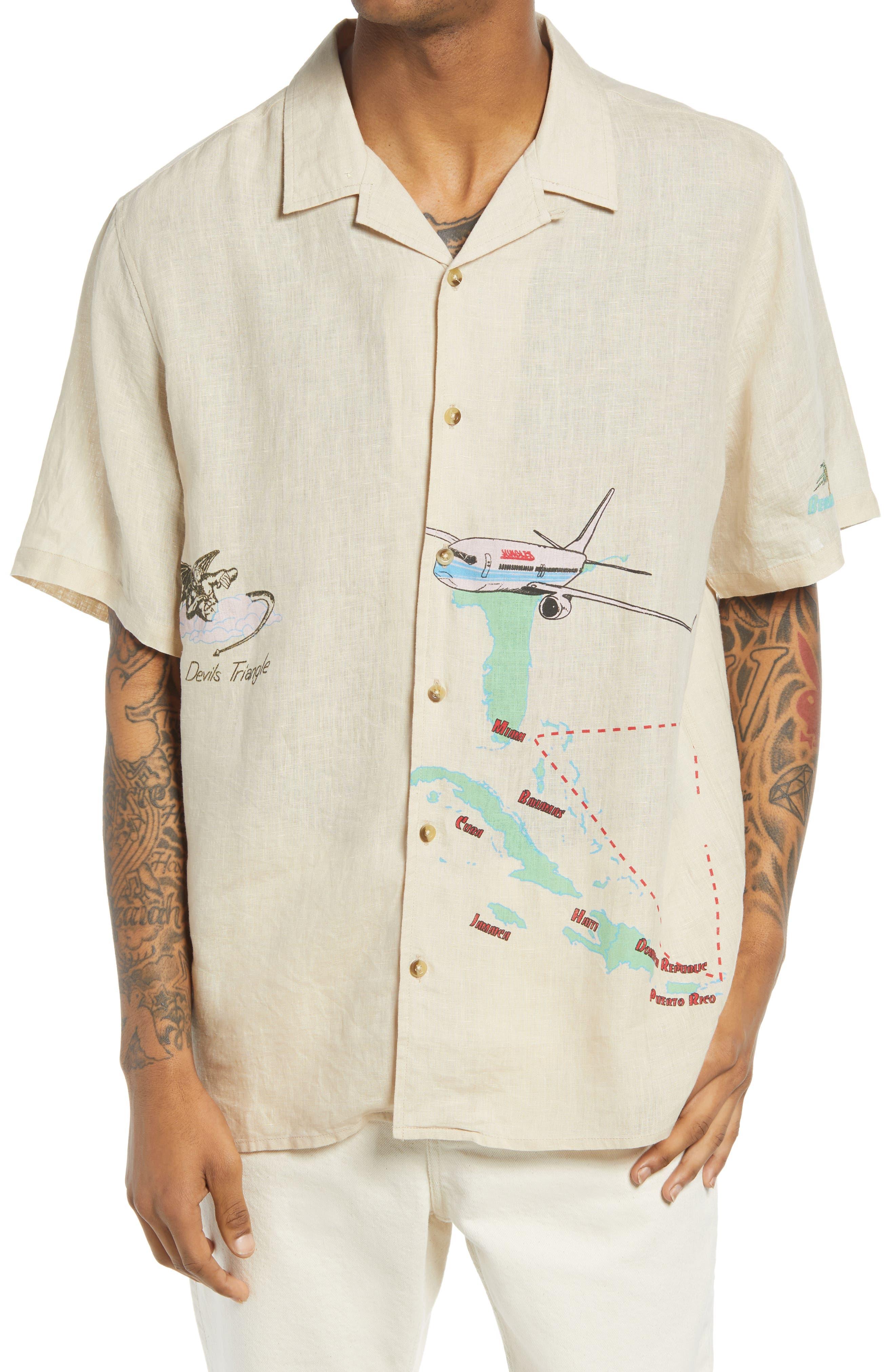 Safe Trip Short Sleeve Linen Button-Up Shirt