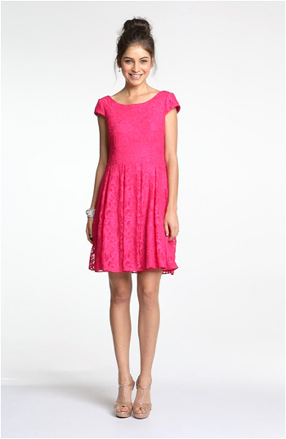 ,                             Lace Fit & Flare Dress,                             Alternate thumbnail 7, color,                             670