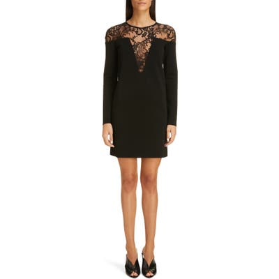 Givenchy Illusion Lace Neck Long Sleeve Dress, Black