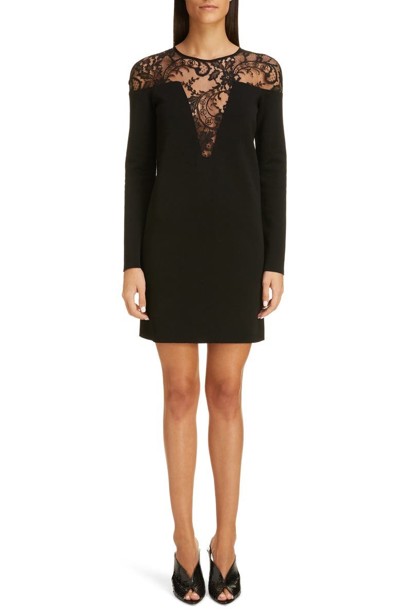 GIVENCHY Illusion Lace Neck Long Sleeve Dress, Main, color, BLACK