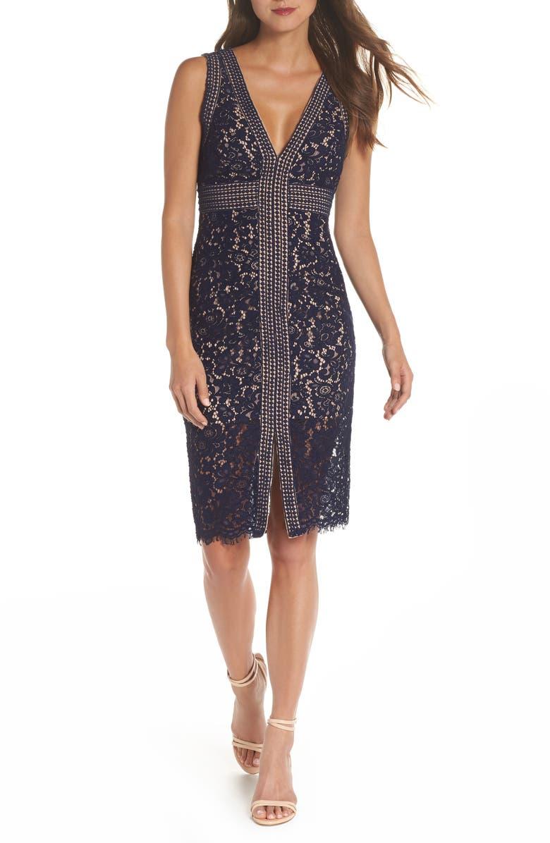 BARDOT Morgan Front Slit Lace Sheath Dress, Main, color, NAVY