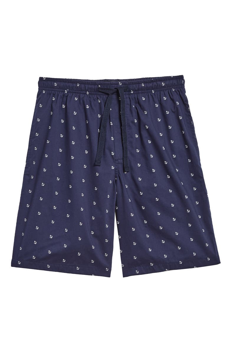 NORDSTROM MEN'S SHOP Poplin Lounge Shorts, Main, color, NAVY PEACOAT ANCHORS