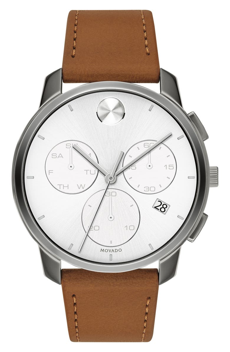 MOVADO Bold Chronograph Leather Strap Watch, 42mm, Main, color, COGNAC/ WHITE/ GUNMETAL
