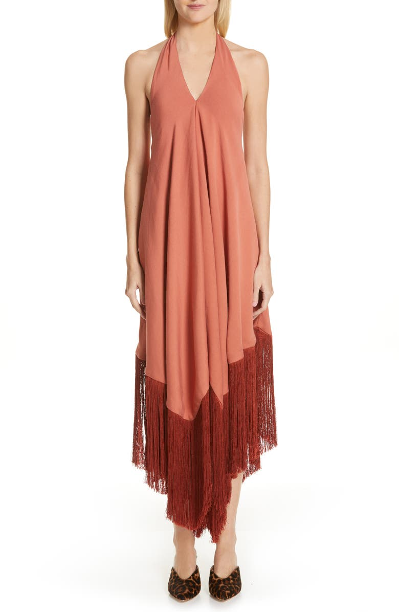 CULT GAIA Ali Fringe Halter Maxi Dress, Main, color, 600