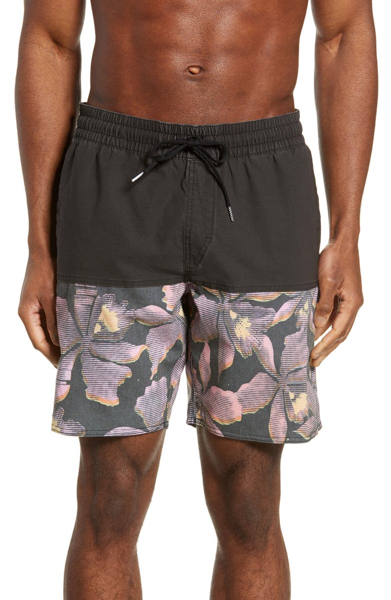 VOLCOM Vibes Volley Swim Trunks, Main, color, PINK NEON