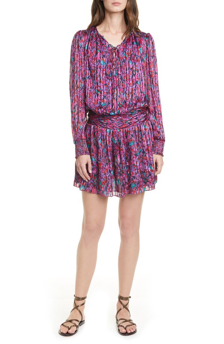 RAMY BROOK Gessie Long Sleeve Print Silk Dress, Main, color, 650