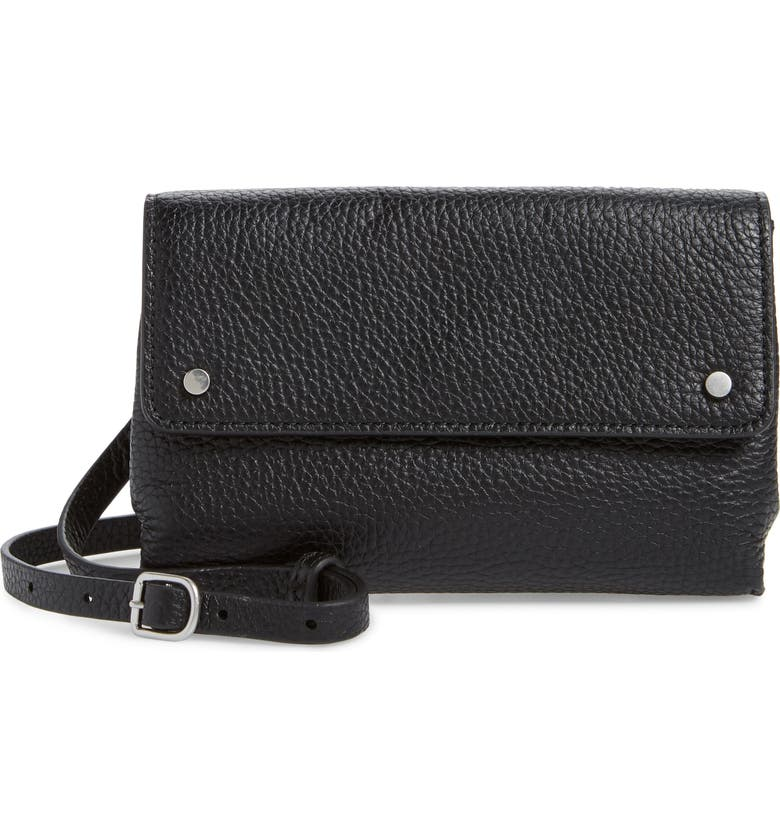 TREASURE & BOND Shawn Leather Crossbody Phone Case, Main, color, BLACK