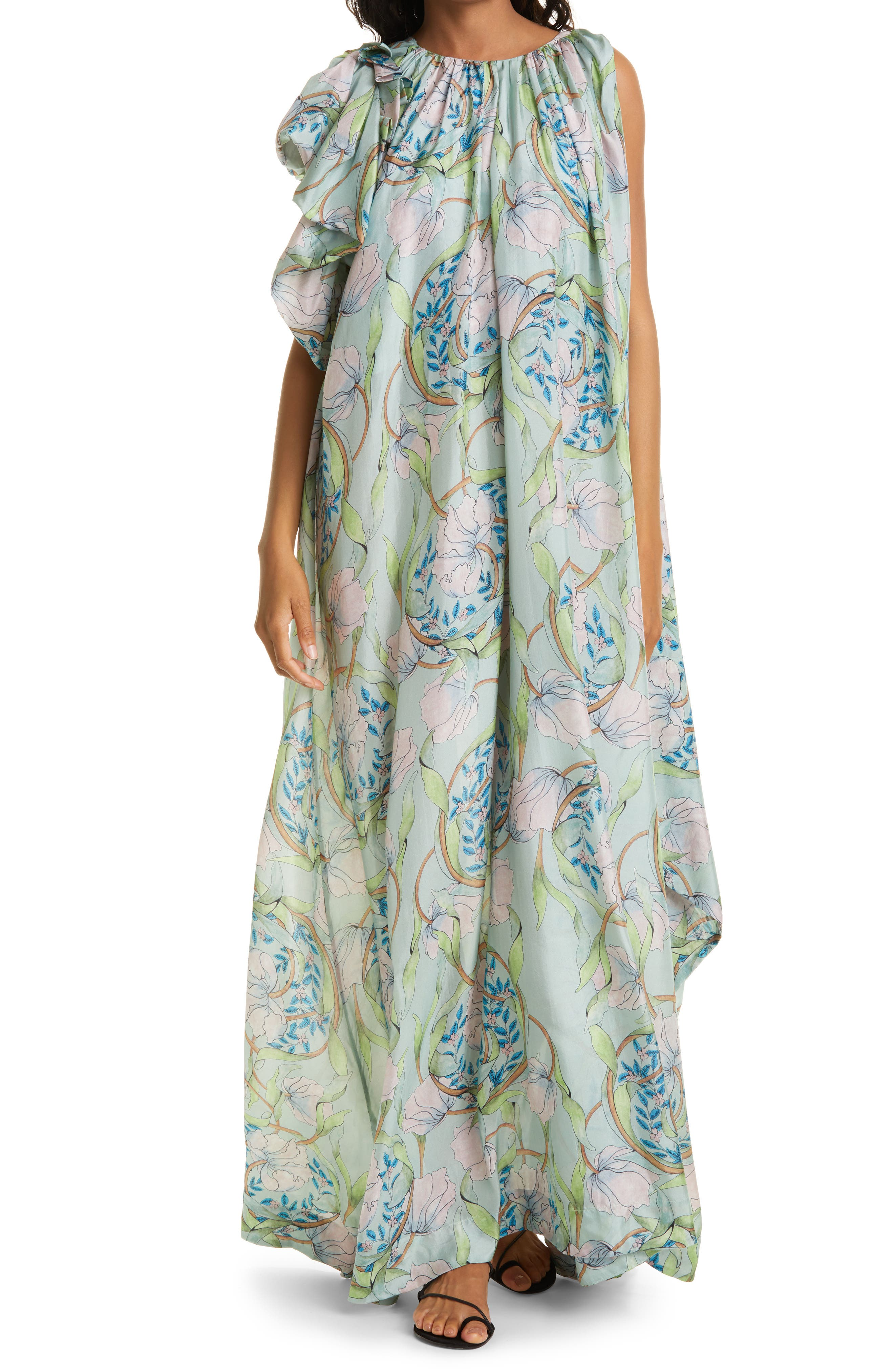 Ella Floral Silk Maxi Dress