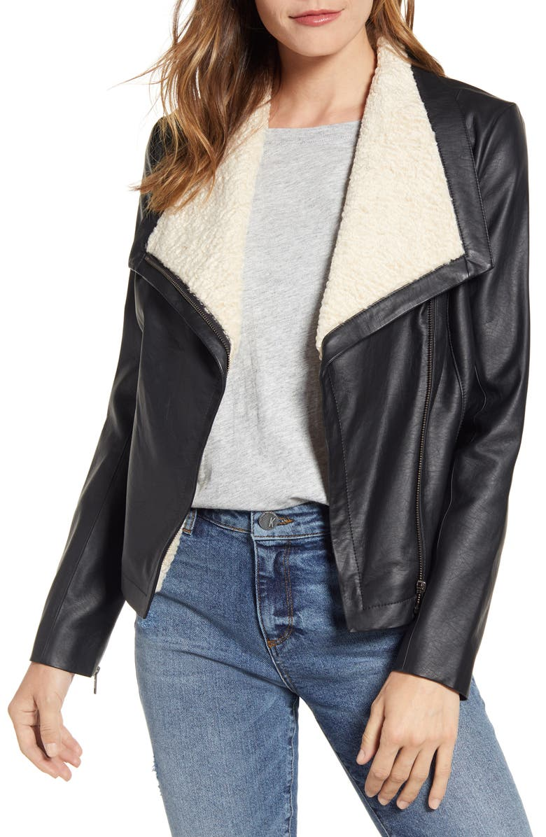 CASLON<SUP>®</SUP> Faux Leather & Faux Fur Moto Jacket, Main, color, 001