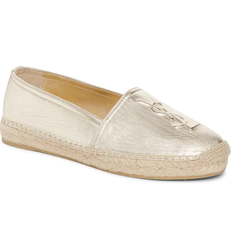 SAINT LAURENT Logo Espadrille, Main, color, PALE GOLD