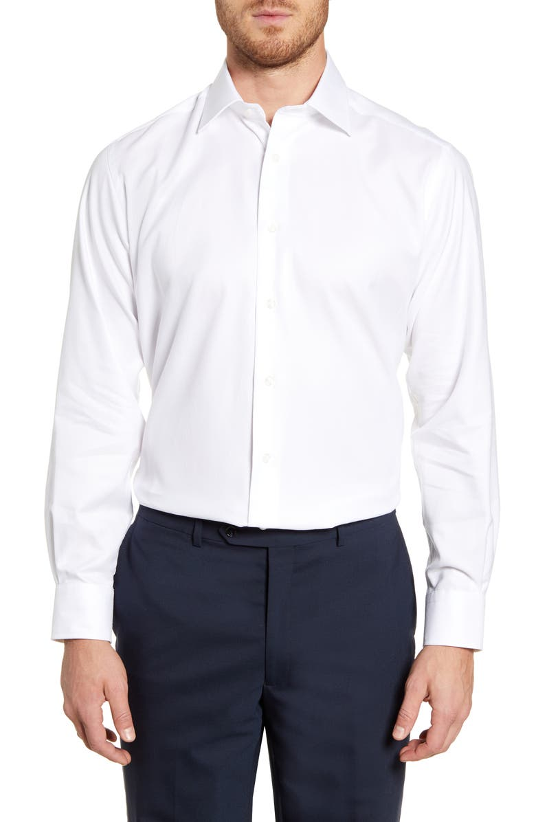 DAVID DONAHUE Regular Fit Oxford Dress Shirt, Main, color, WHITE