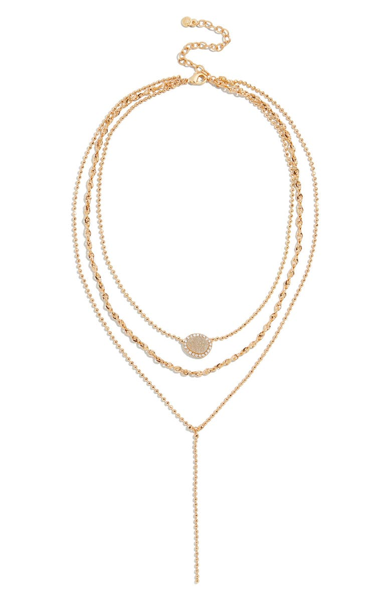 BAUBLEBAR Musia Drusy Layered Y-Necklace, Main, color, GOLD