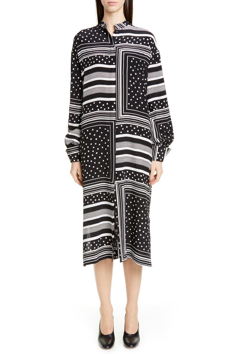 CO Print Long Sleeve Silk Midi Shirtdress, Main, color, GEOMETRIC