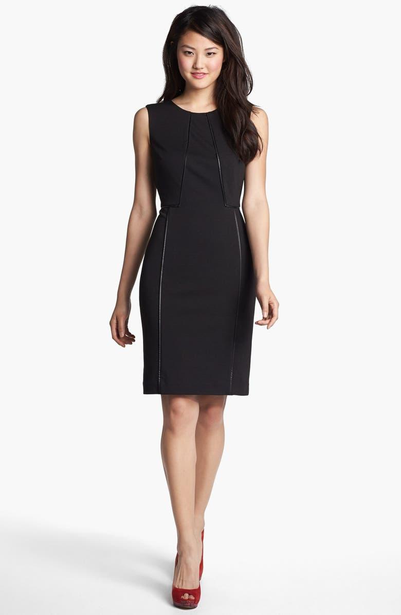 HALOGEN<SUP>®</SUP> Faux Leather Trim Sheath Dress, Main, color, 001