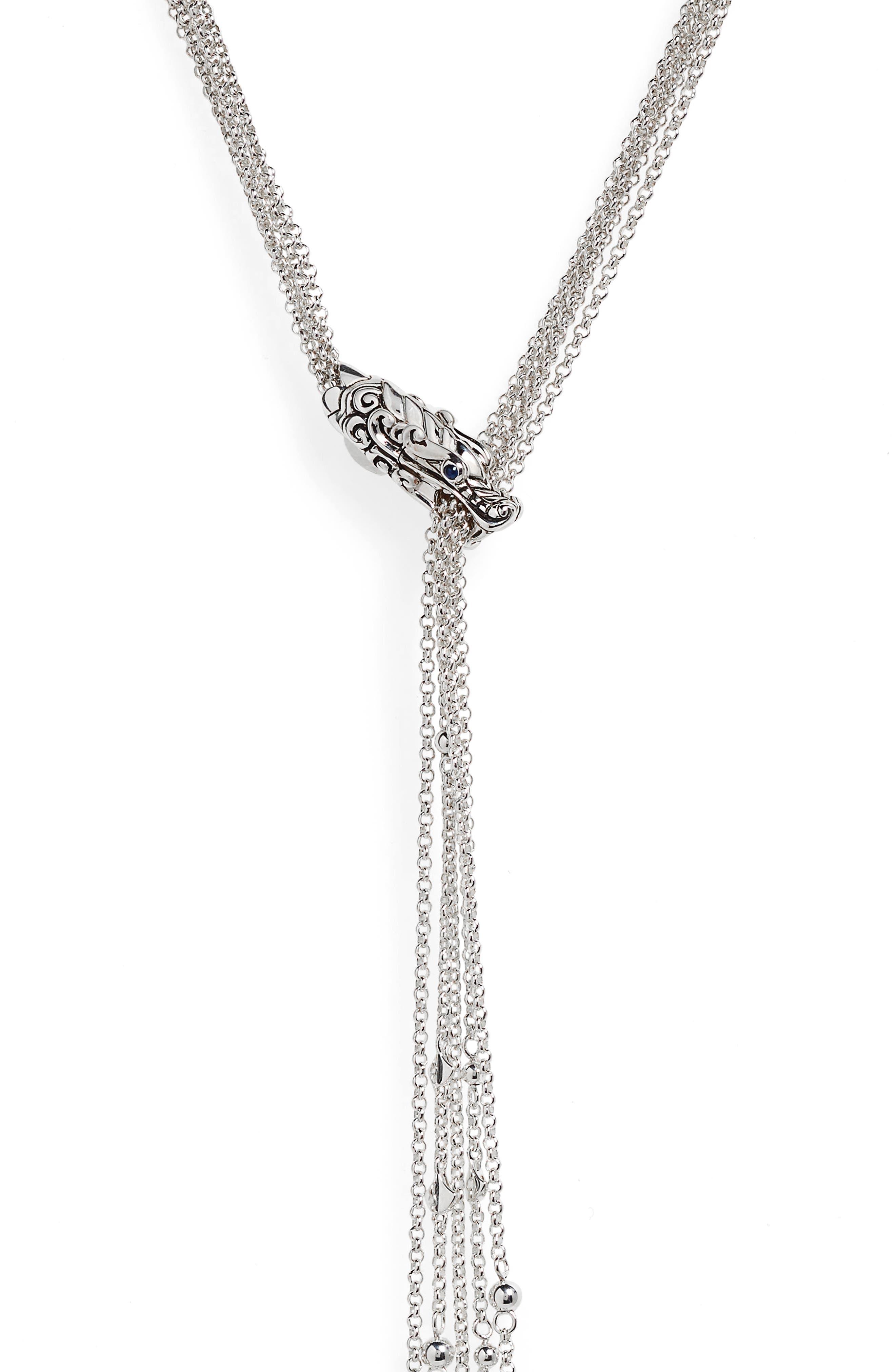 ,                             Legends Naga Sapphire Lariat Necklace,                             Alternate thumbnail 2, color,                             SILVER/ BLUE SAPPHIRE