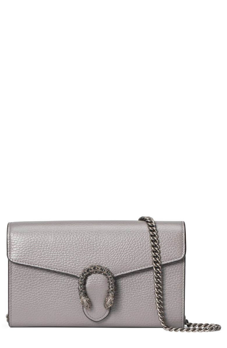 GUCCI Leather Wallet on a Chain, Main, color, DUSTY GREY/ BLACK DIAMOND