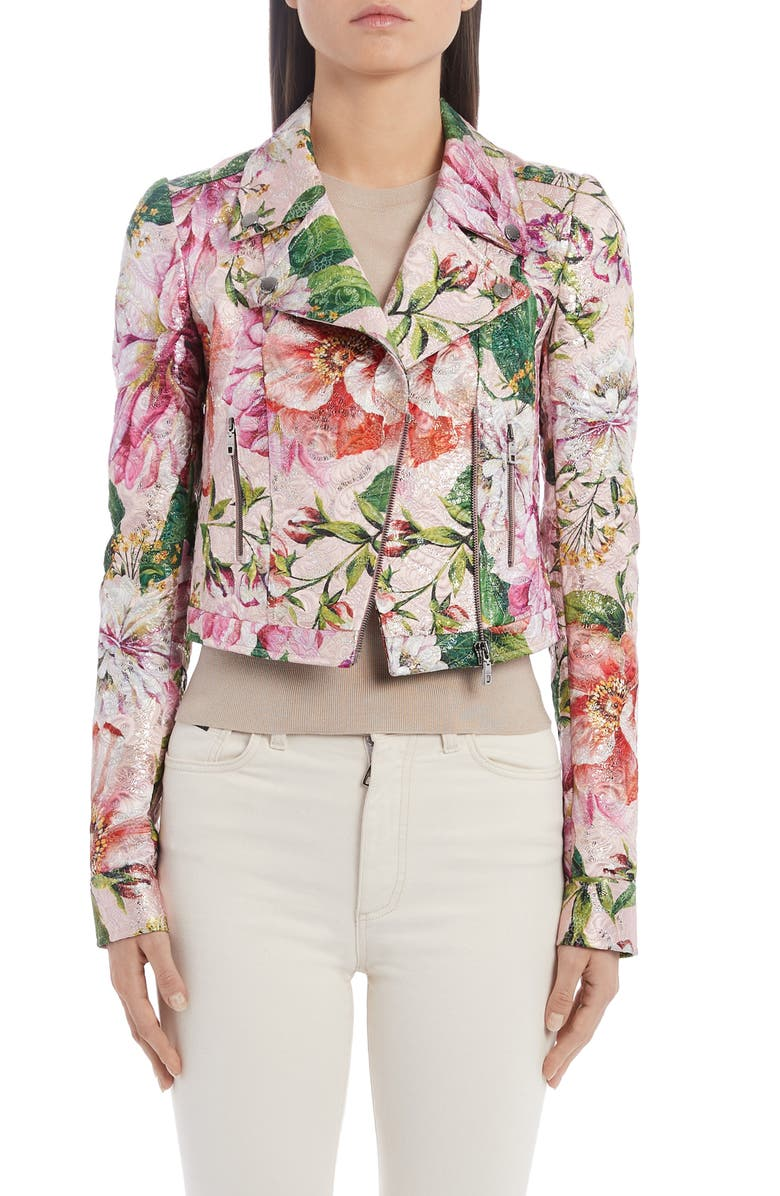 DOLCE&GABBANA Floral Brocade Moto Jacket, Main, color, 680