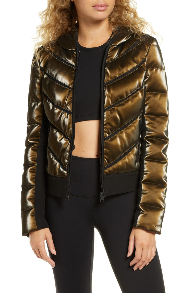 BLANC NOIR Freestyle Mesh Inset Down Puffer Jacket, Main, color, 220