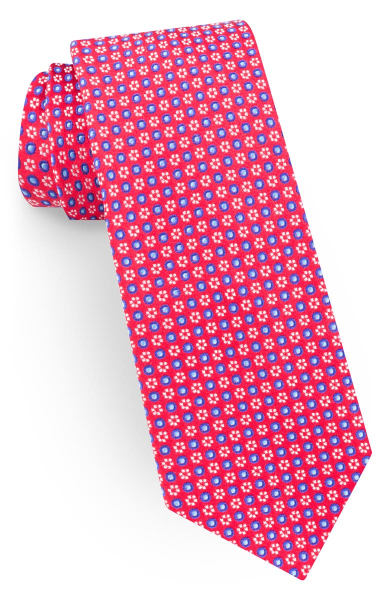 TED BAKER LONDON Geometric Flower Silk Tie, Main, color, RED