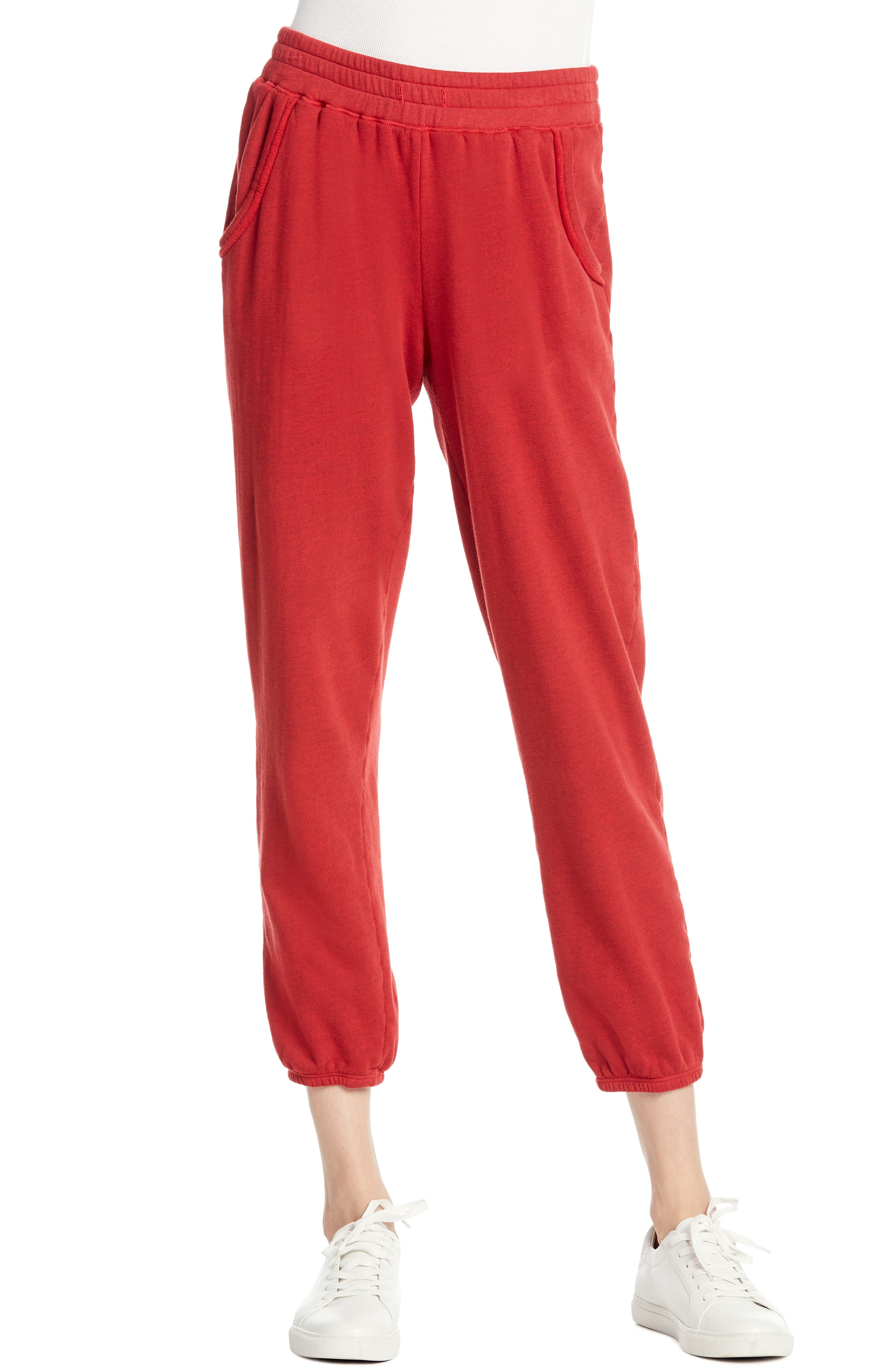 Michael Stars Cozy Terry Sweatpants, Red