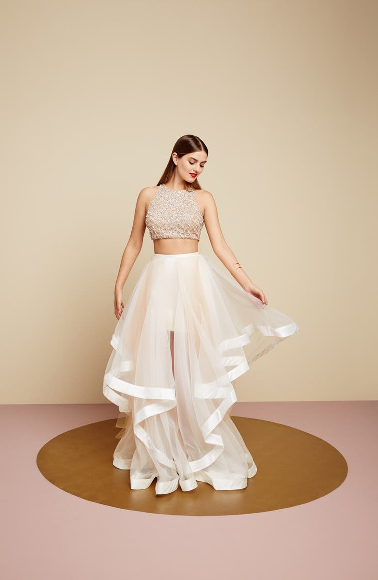 1c7ca428711 Glamour by Terani Couture Beaded Top   Organza Two-Piece Ballgown ...