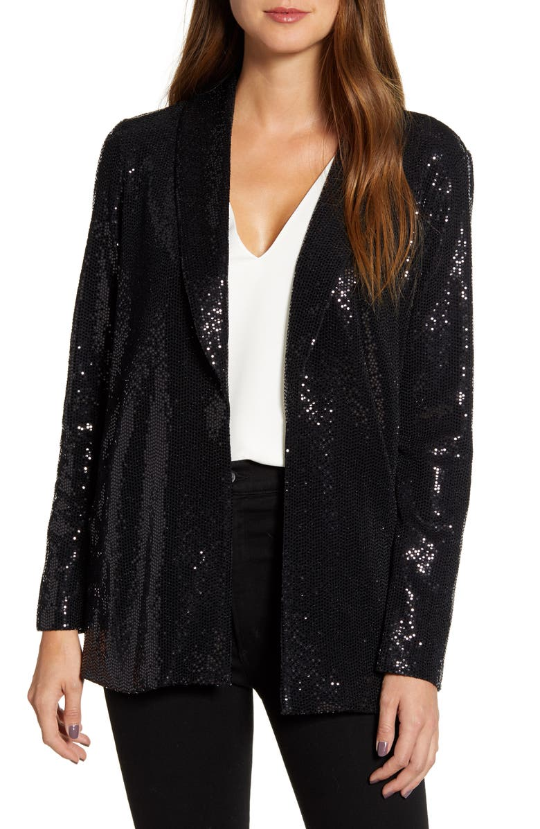 GIBSON x Glam Living in Yellow Sequin Shine Blazer, Main, color, BLACK