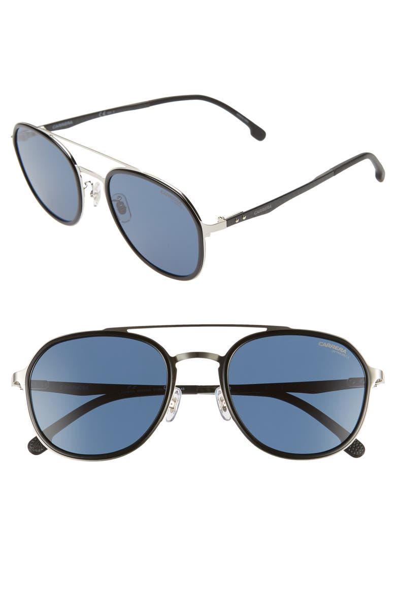 CARRERA EYEWEAR 54mm Round Sunglasses, Main, color, PALLADIUM/ BLUE