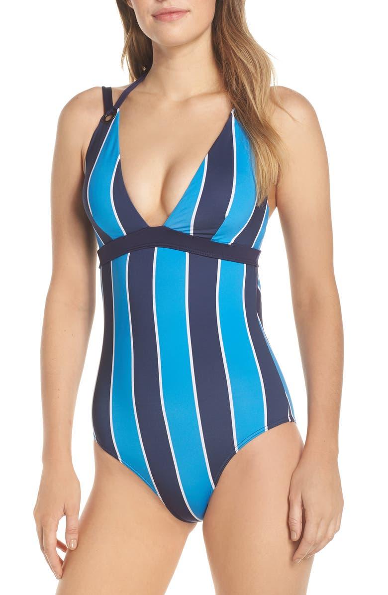 MEI L'ANGE Mei L'Ange Mya One-Piece Swimsuit, Main, color, BLUE-NAVY STRIPES