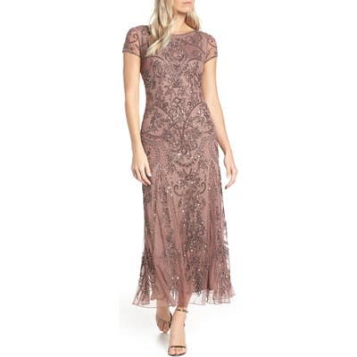Pisarro Nights Embellished Mesh Gown, Pink