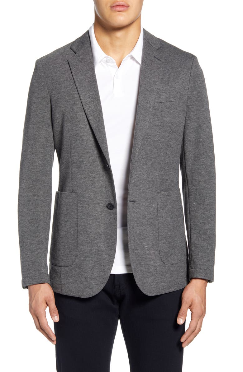 NORDSTROM MEN'S SHOP Trim Fit Comfort Blazer, Main, color, GREY PHANTOM HEATHER