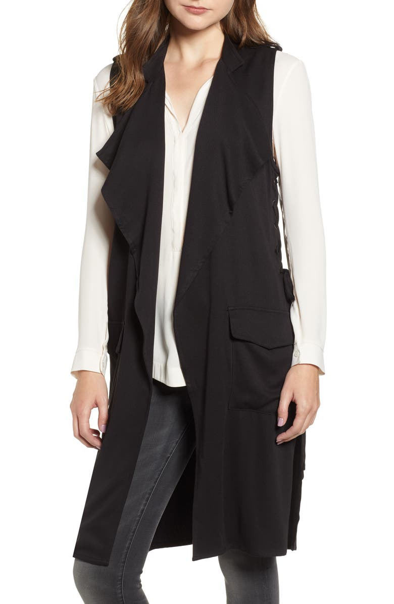 BB DAKOTA Bad and Boujee Lace-Up Vest, Main, color, 001