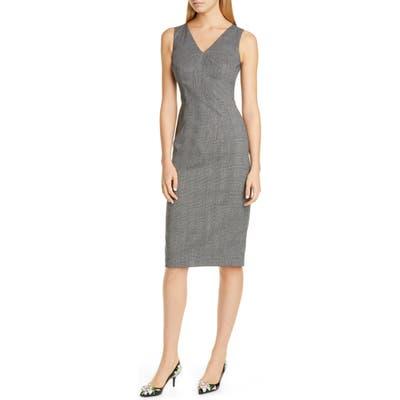 Dolce & gabbana Glen Plaid Stretch Wool Sheath Dress, US / 46 IT - Grey