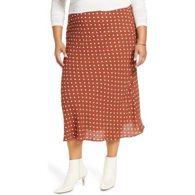 Plus Size Halogen Bias Cut Midi Skirt, Brown