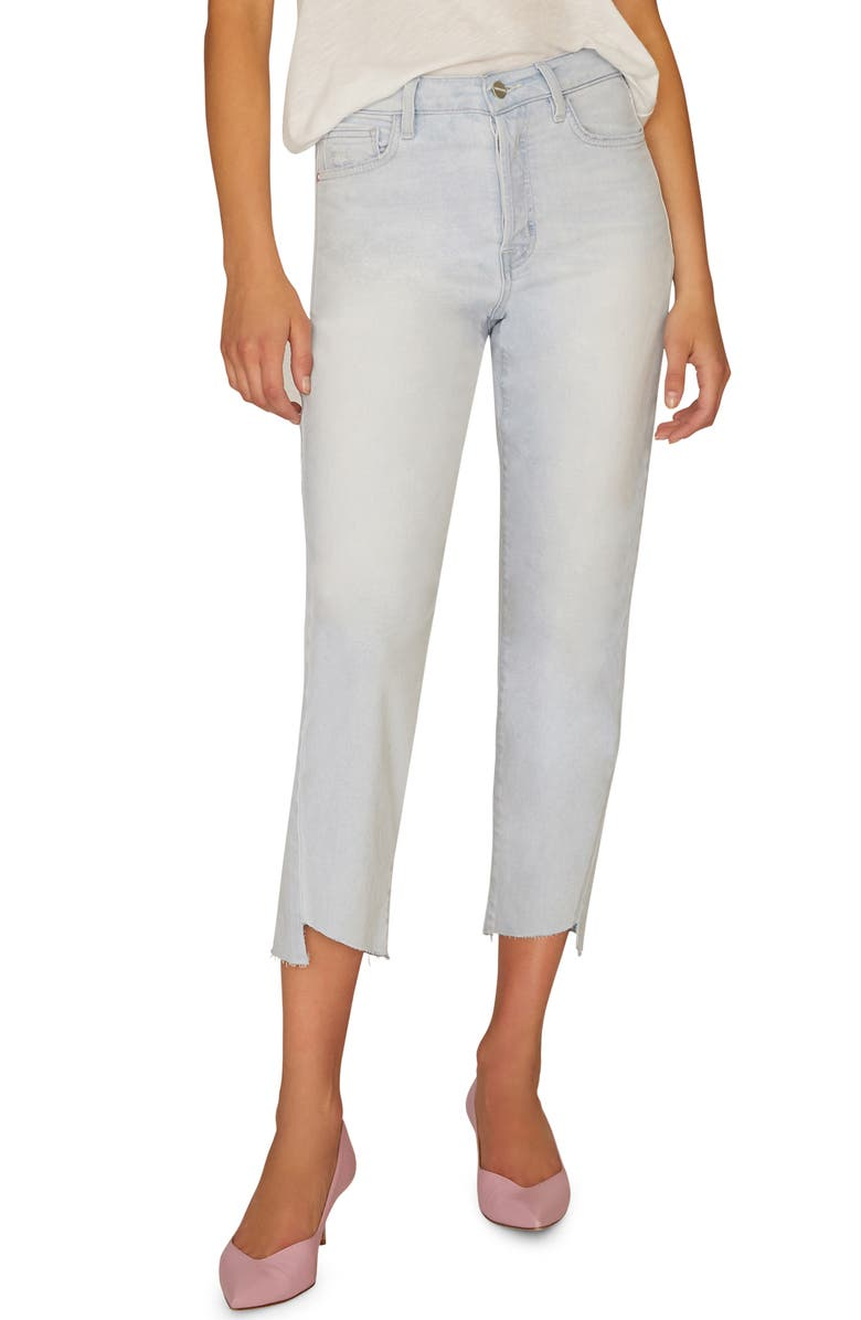 SANCTUARY Tapered Twisted Raw Step Hem Jeans, Main, color, 451