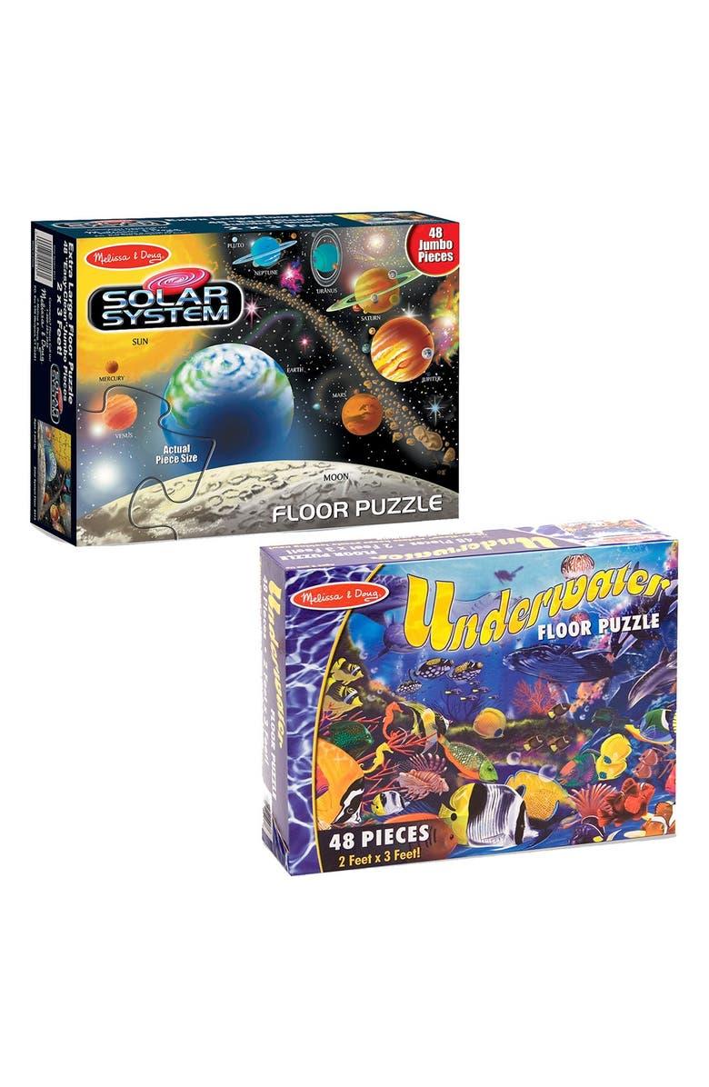 MELISSA & DOUG Solar System & Underwater Floor Puzzles, Main, color, MULTI