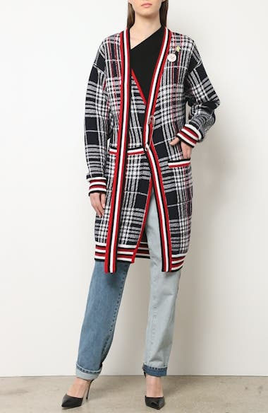 Tie Neck Longline Plaid Wool Cardigan, video thumbnail